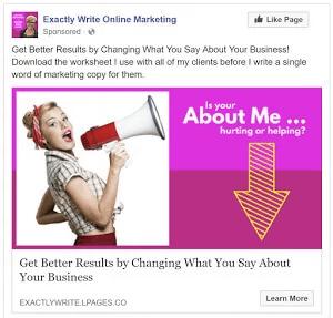 Exactly Write - exemplo de anúncio do Facebook e landing page - joaobotas.pt