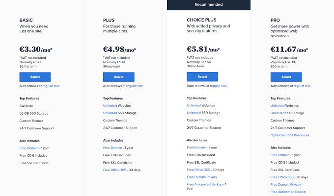planos preços alojamento partilhado bluehost