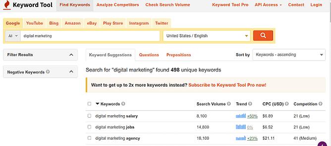 Introdução ao keyword tool