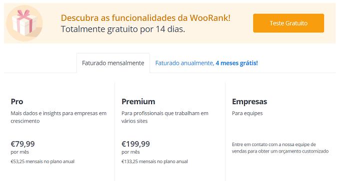 preços do woorank