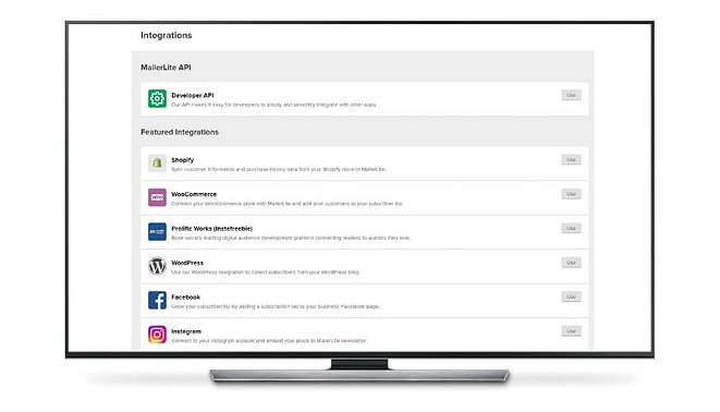 MailerLite possui várias integrações disponíveis - joaobotas.pt