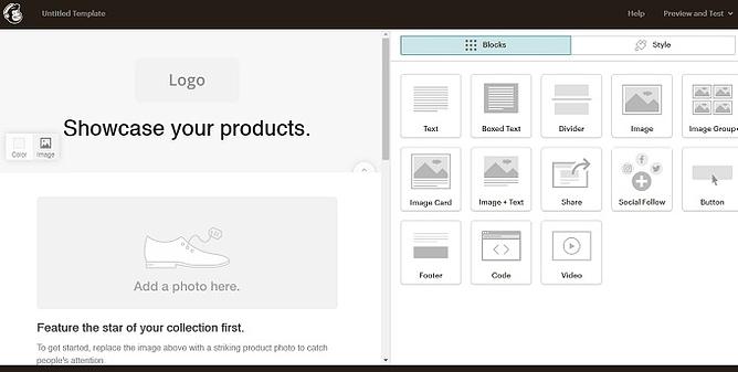 criar email no Mailchimp