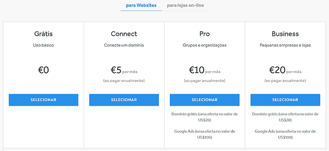 planos preços Weebly