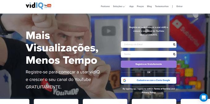 site do VidIQ
