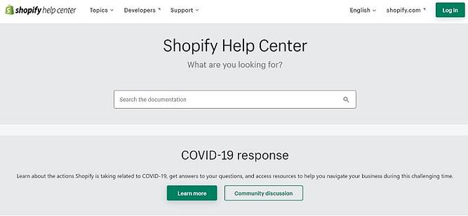 Suporte ao cliente do Shopify