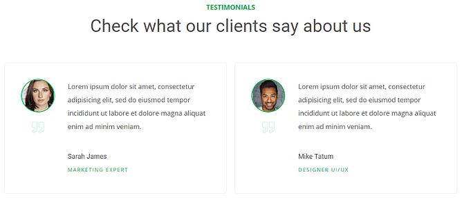 bloco de página de depoimento - thrive theme builder