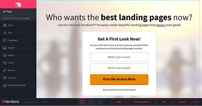 Criação de uma página de destino sendlane