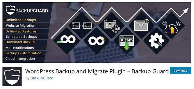 Plugin wordpress Backup Guard