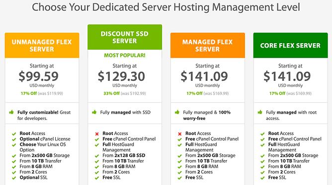 preços alojamento dedicado a2 hosting