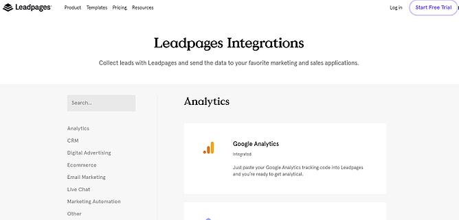 Integrações do leadpages
