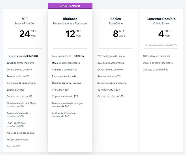 planos preços wix