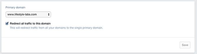 escolher domínio principal no shopify