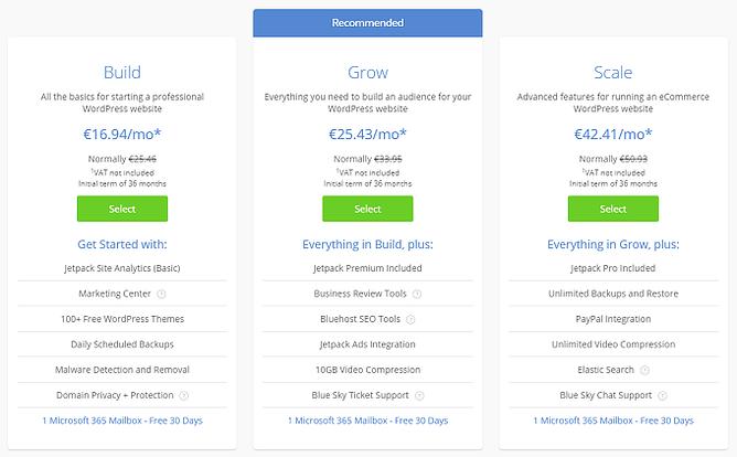 preços alojamento wordpress gerido bluehost