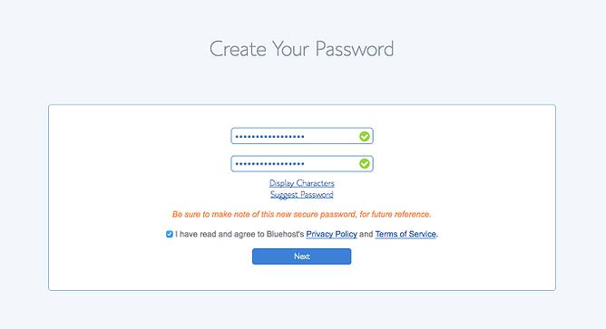 criar password para conta bluehost