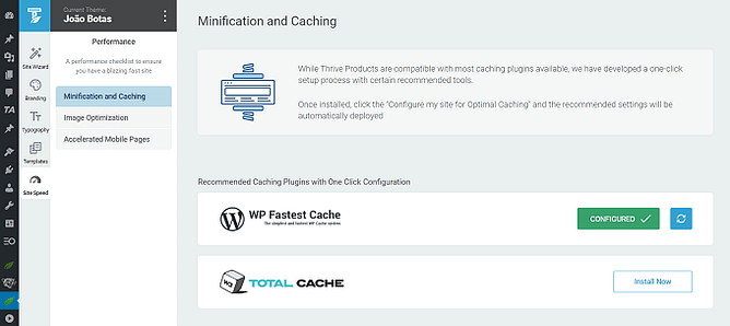 Minificação e cache - thrive theme builder