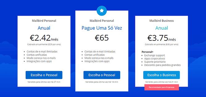 preços mailbird
