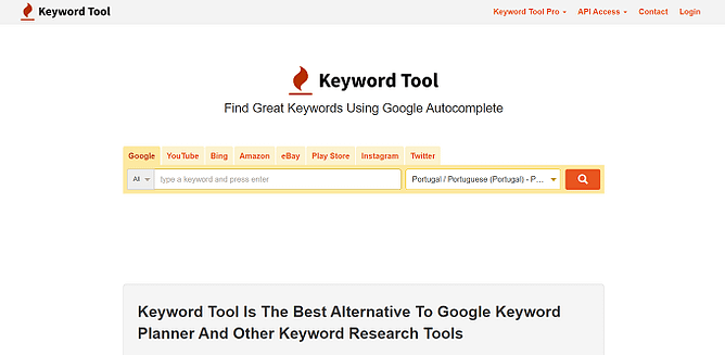 site da KeywordTool