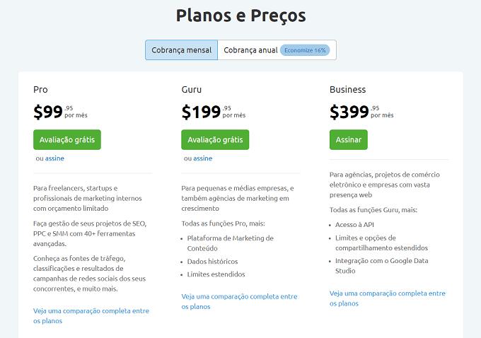 planos preços semrush