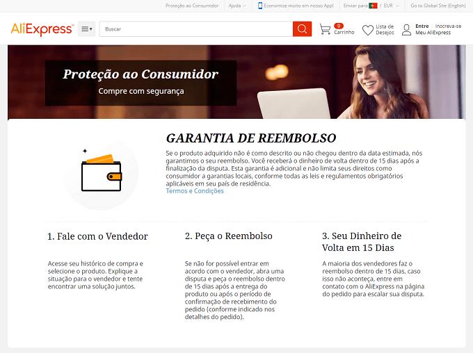 Proteção ao comprador no AliExpress