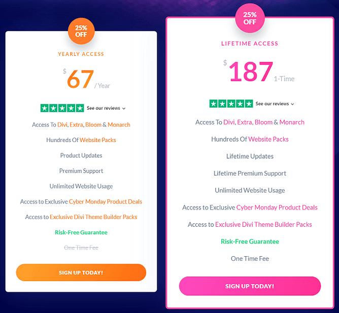 planos preços Divi, Extra, Bloom e Monarch