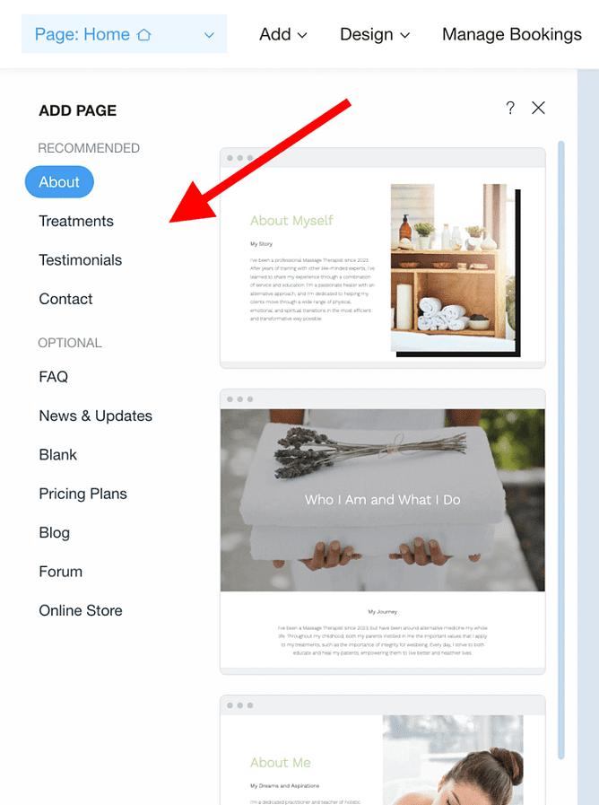 criar página principal no wix