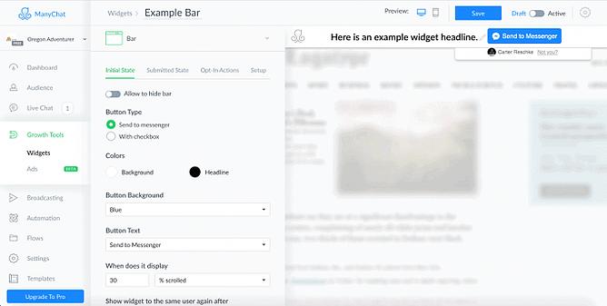 Ferramentas de criação de widget no manychat