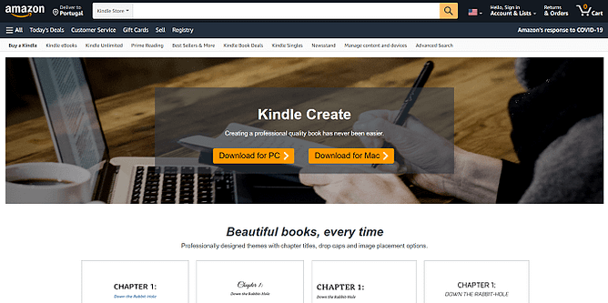 site da Kindle Create