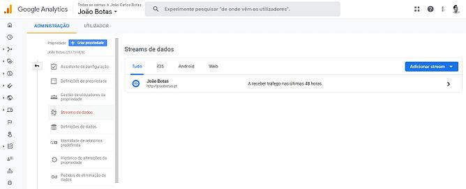 streams de dados google analytics 4