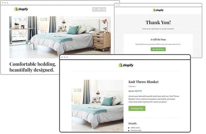 como criar uma landing page no shopify