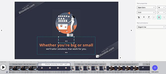 Personalização de vídeo Biteable