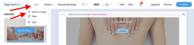 Adicionar Novas Seções no wix