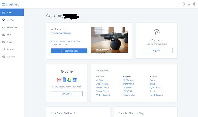 fazer login site wordpress no bluehost