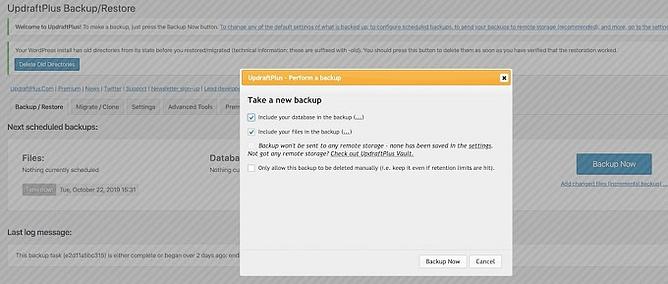Backup de seu site WordPress com UpdraftPlus