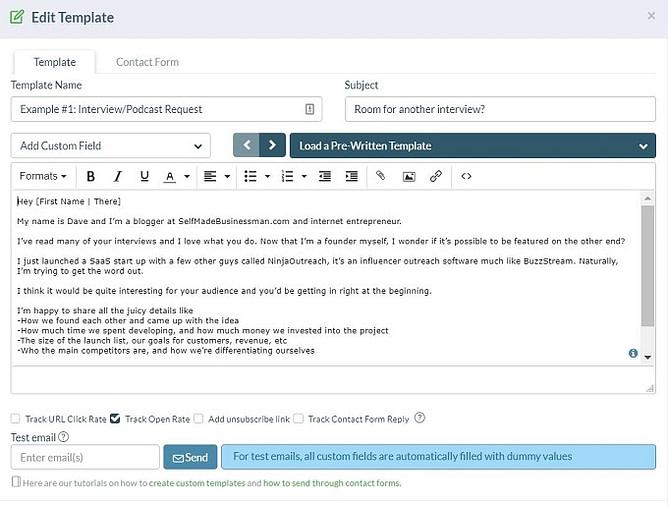 Modelos de email Ninja-Outreach