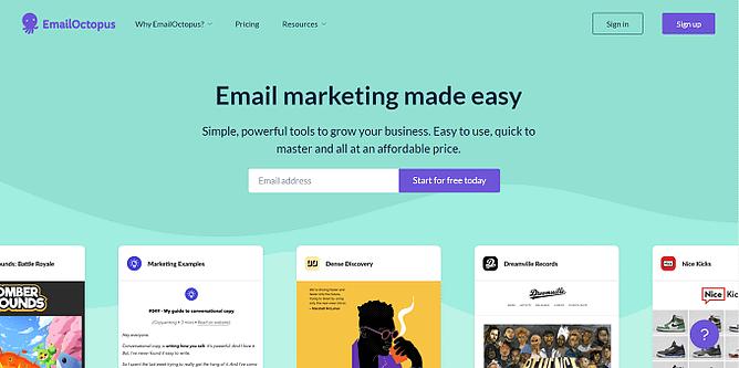 site do EmailOctopus
