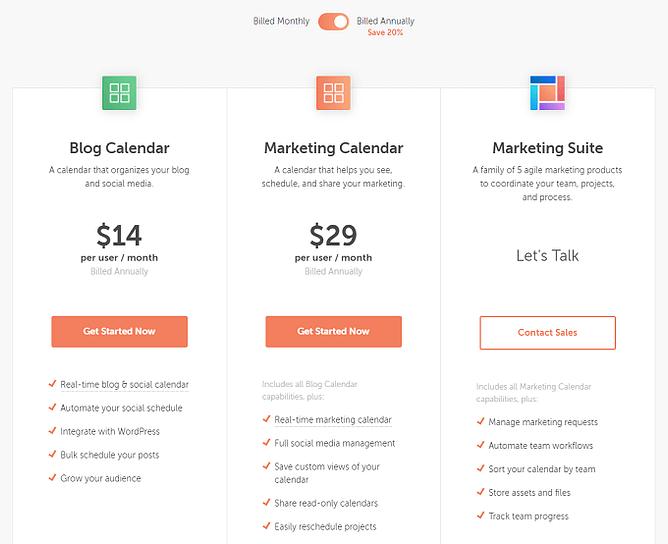 planos preços CoSchedule