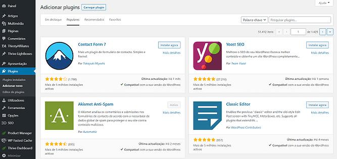 Instale plugins do WordPress