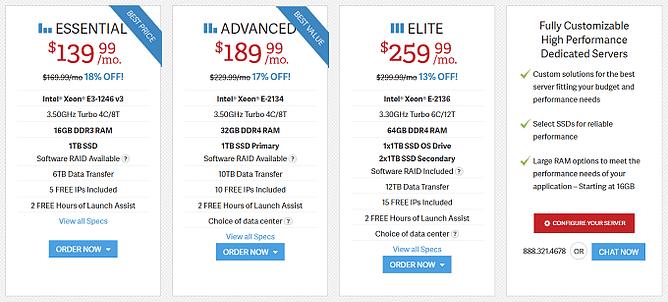 preços alojamento dedicado inmotion hosting