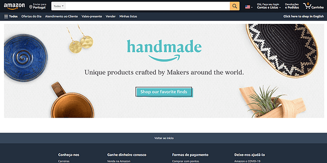 site da Amazon Handmade