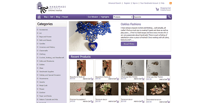site da Handmade Artists Shop