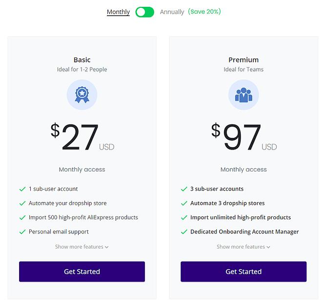 preços dropshipping salehoo