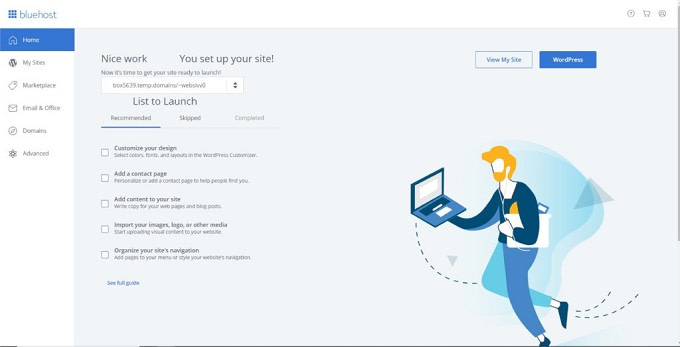 Painel do Bluehost