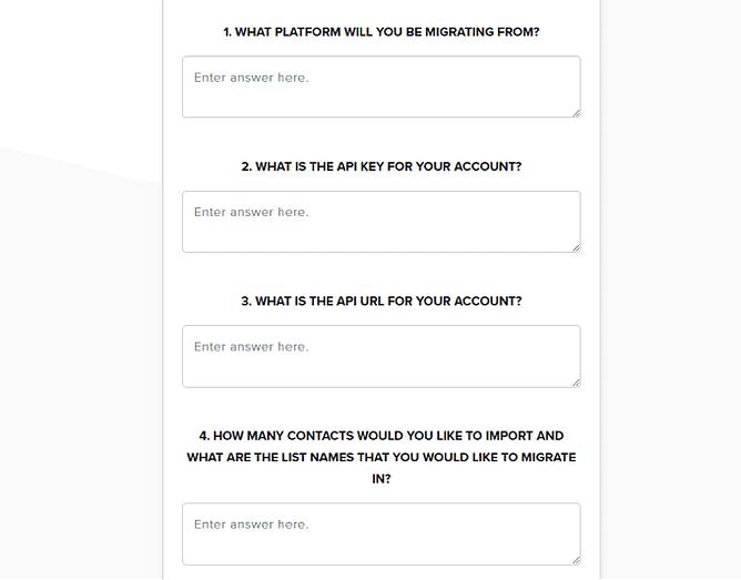 formulários no sendlane