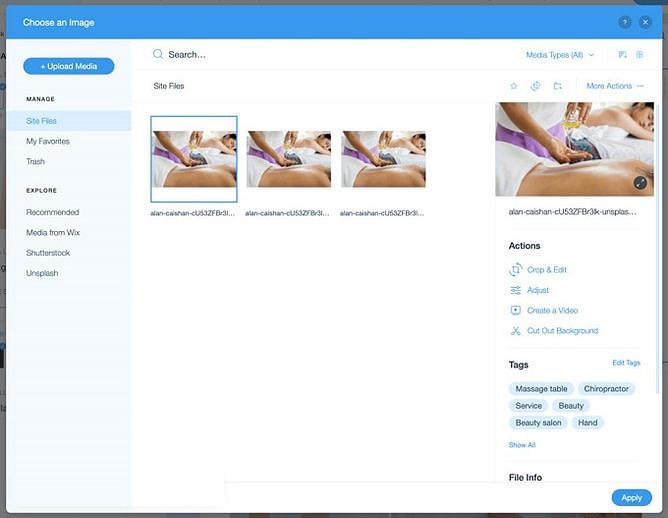 imagens no wix 2