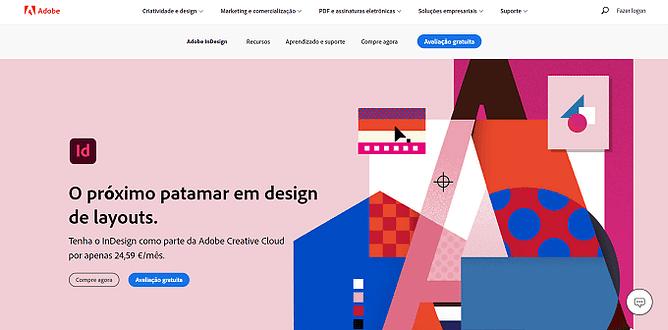 site da Adobe InDesign