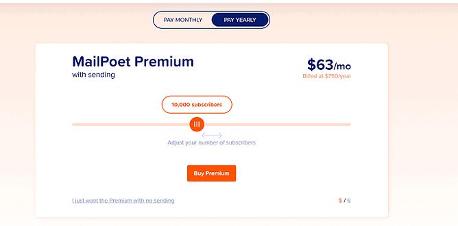 preço do mailpoet