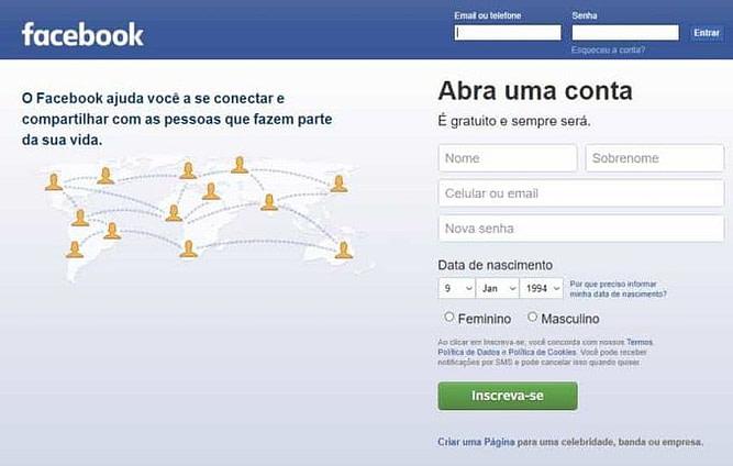 site do facebook