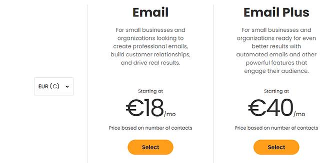 planos preços Constant Contact