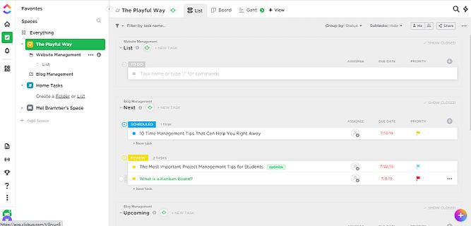 Interface do clickup