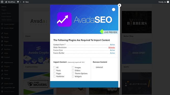 Importar demo do Avada
